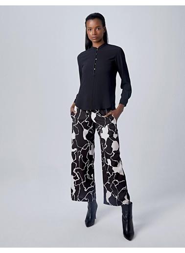 Huxel WLP003193 Geniş Bacaklı Pantolon Siyah